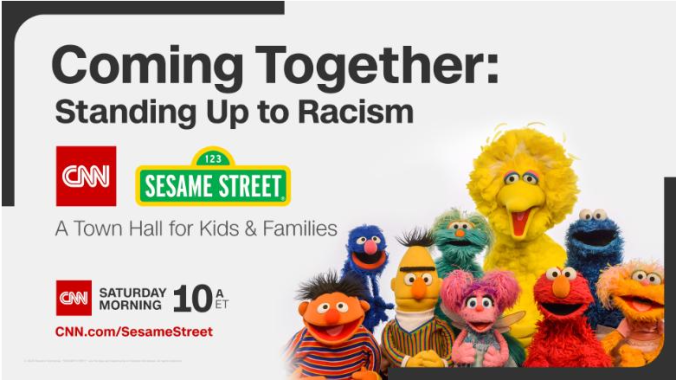 Logos for CNN and Sesame Street, Sesame Street Characters
