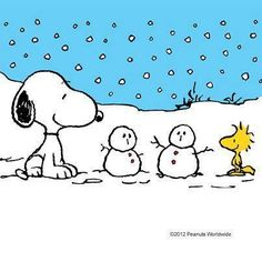 Snoopy and Woodstock standing next to two snowmen