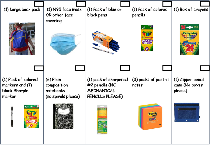 A checklist of supplies needed for students in the 2021-22 school year