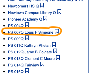 PS 7 is circled in the list of schools