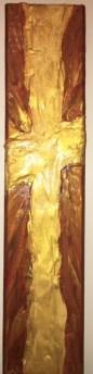 Textured Gold Cross Wood Block Radiance!