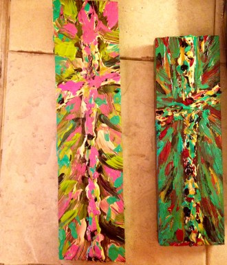 Pink and Green Crosses-Wood planks