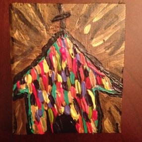 tiny wood block colorful church