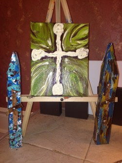 Wood Church shaped crosses and new textured canvas cross