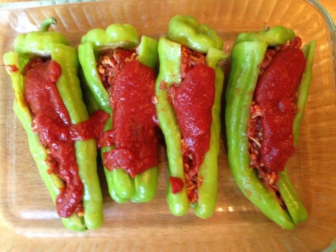 Sausage Stuffed Cubanelle Pepper - Before