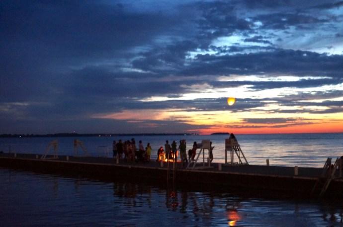 Lakeside beach sky lanterns