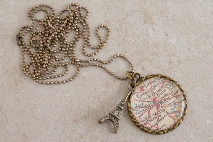 Antique Paris map used to create custom necklace