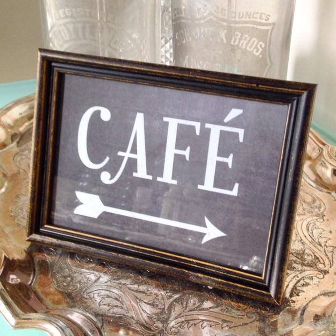 """Sign """"café"""" custom designed, printed, frame"""