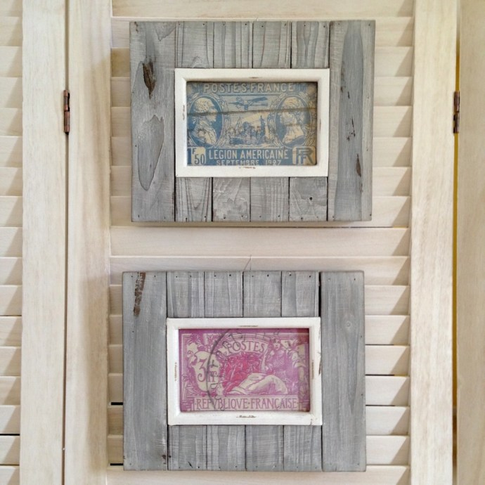 Vintage stamps scanned, customized/printed, and framed