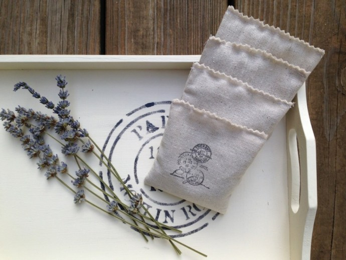 Lavender sachets made from hand-stamped muslin