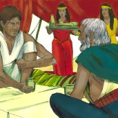 Moses agree to stay with Reuel who gave him his daughter, Zipporah, in marriage.