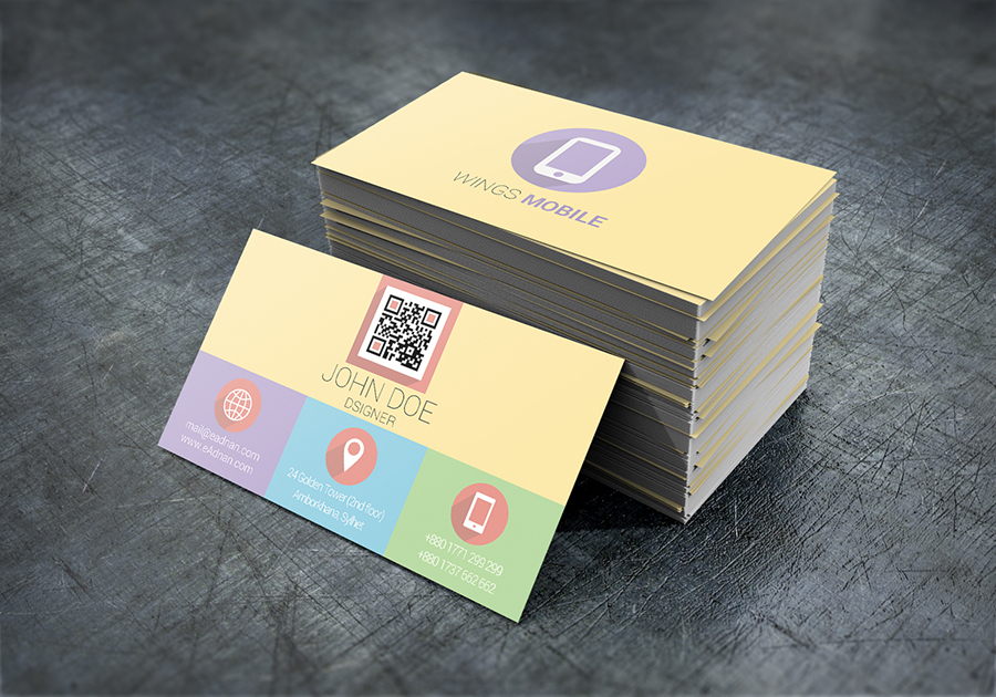 Free Flat Business Card Download PSD file from print template.