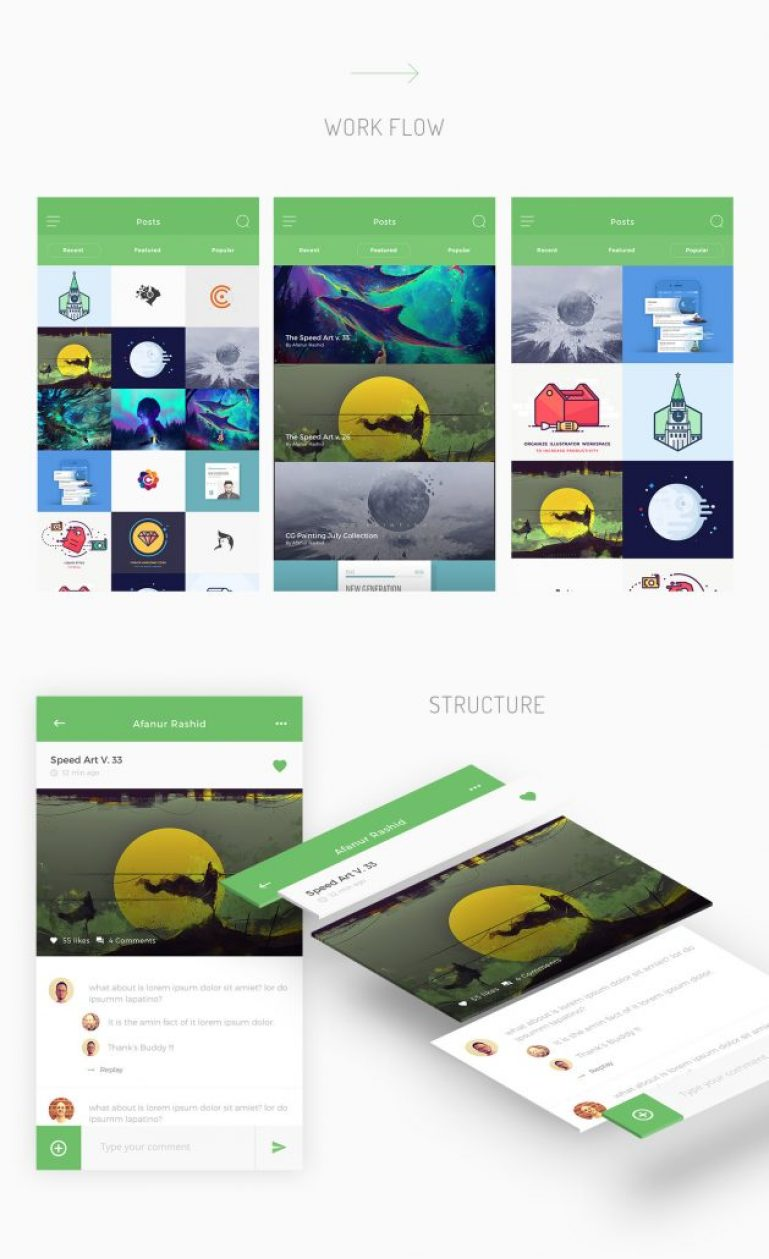 post-with-comments-free-psd-ui-kit-psdboom