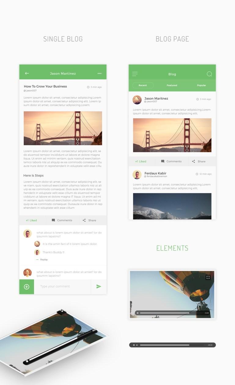 timeline-free-psd-mobile-app-ui-kit