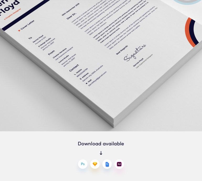 3. Free Modern CV/Resume Template Slice 3