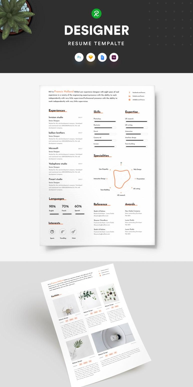 1. Free Resume Template For Designer With Portfolio