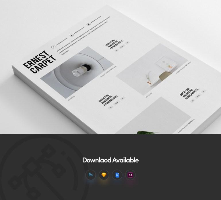 3. Free Resume Template For Designer With Portfolio
