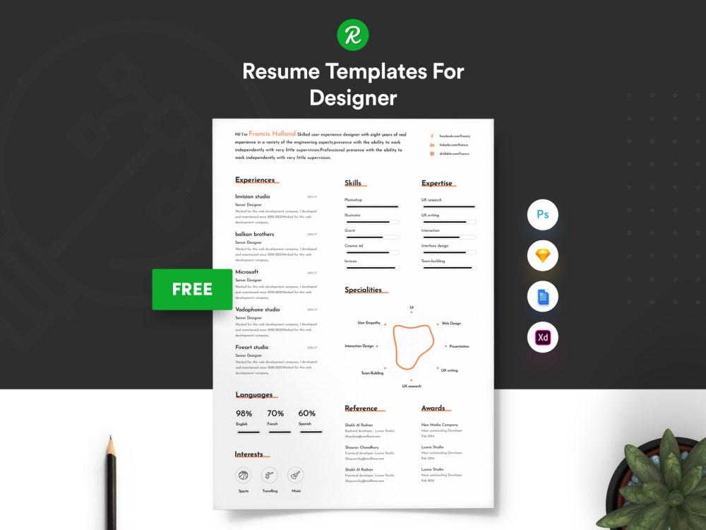 Free Resume Template For Designer With Portfolio