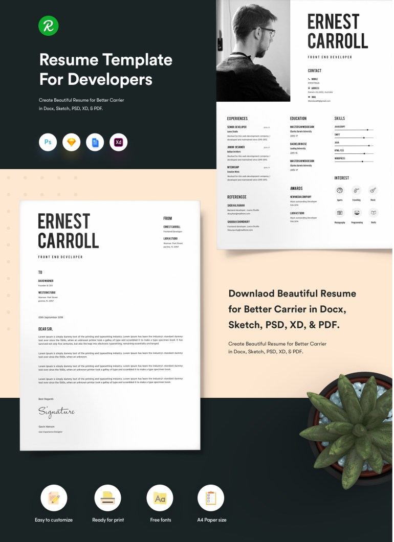 1. Free Resume Template For Developers With Portfolio