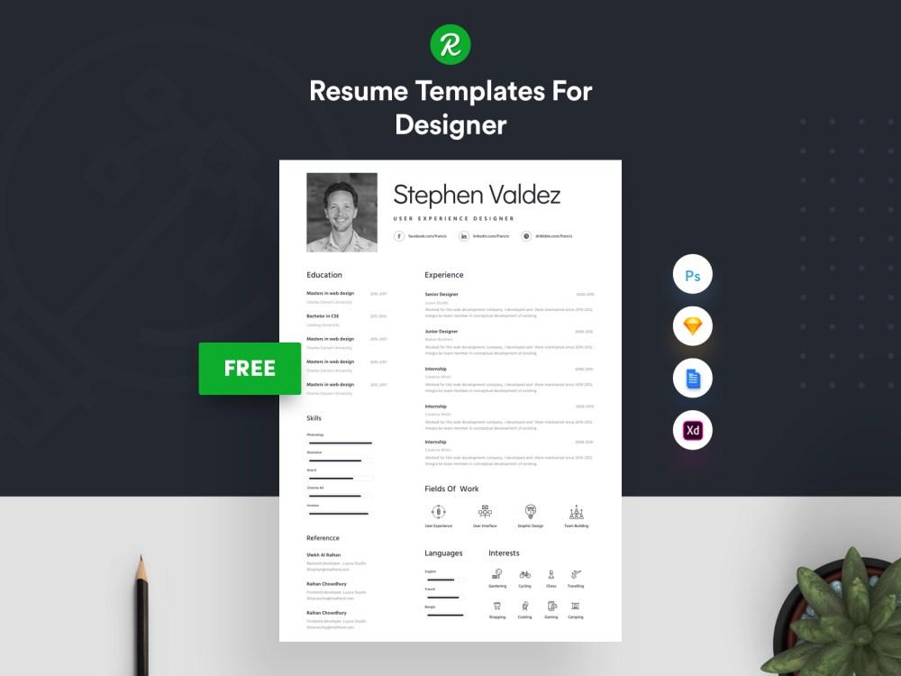 free sketch  u0026 psd resume template  u2013 psdboom