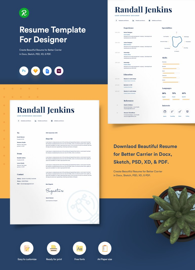 1. Resume Template For Designers With Portfolio