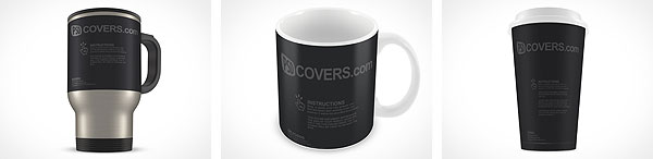 PSD mockup template for mugs and cups stainless, paper and ceramic