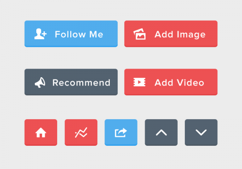 Flat Rounded UI Buttons PSD Set