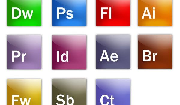 A full range of Adobe software icons PSD layered file