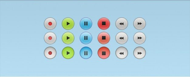 Audio Control Buttons with All States