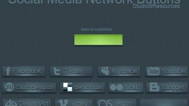 blue social media network buttons set psd