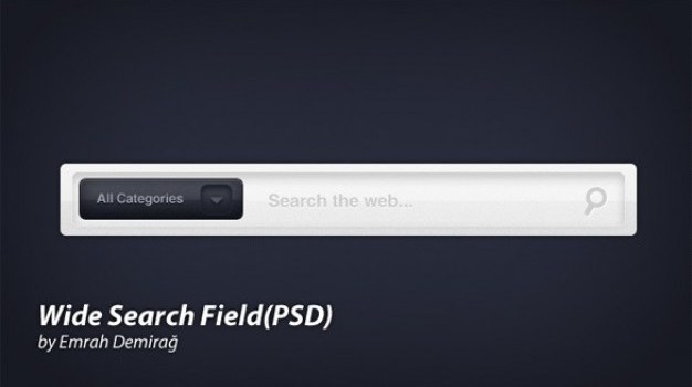 clean wide web ui search field psd