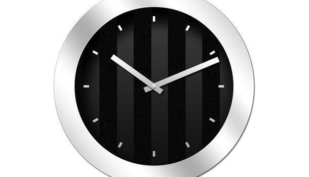 Modern black clock icon (PSD)