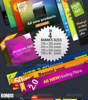 color labels and banner   psd layered material