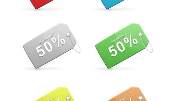 colorful sales discount tags set psd