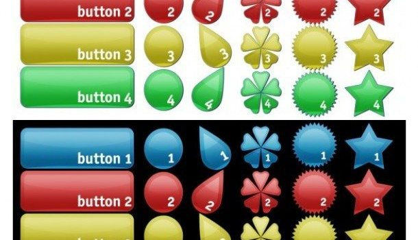 colorful shapes web ui buttons pack psd