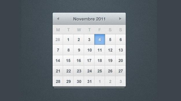 crisp grey month calendar widget psd
