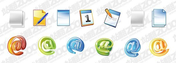 Document symbols very cool calendar message icon PSD