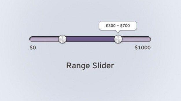 elegant purple range slider interface psd