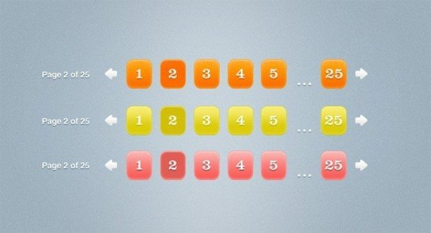 fresh juicy pagination buttons psd