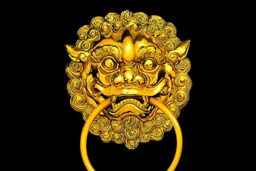 gorgeous chinese gold tiger& ;s head door knocker