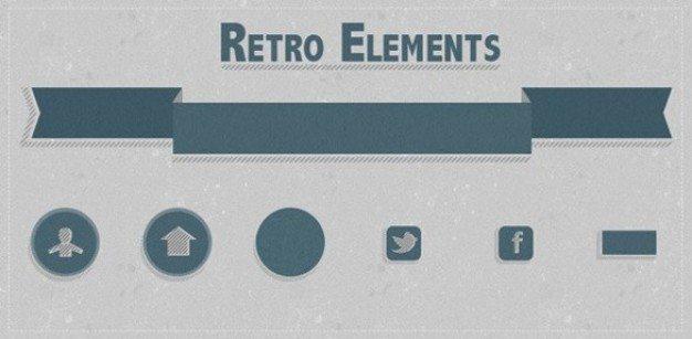 green flat retro web elements set psd
