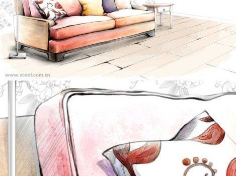 hand painted style of interior decoration psd layered picture