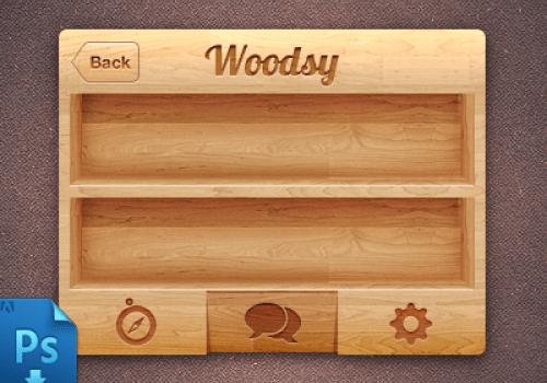 iPhone Wooden UI PSD Freebie