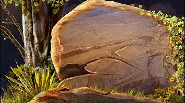 large stone in the forest psd background