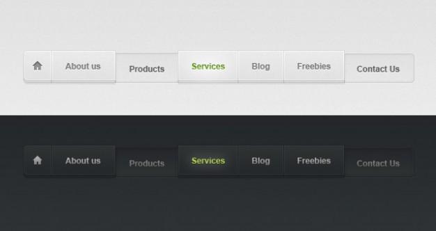 light and dark psd web menu