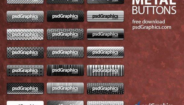 PSD silver metal buttons set