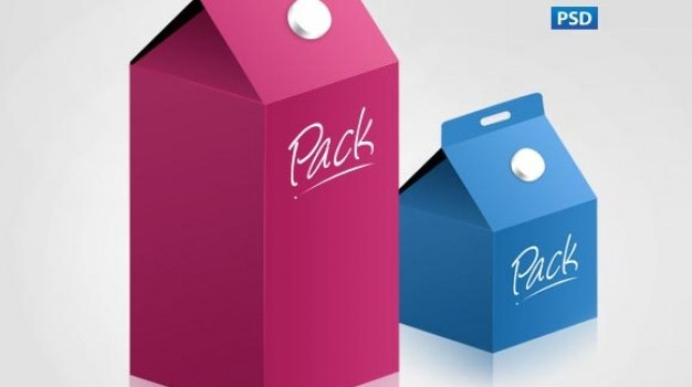 Milk paper cartons in blue and pink