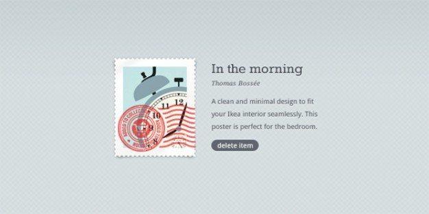 minimal stamp web button psd