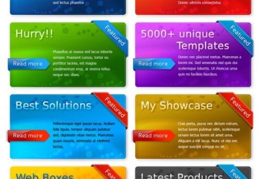 multi color decorative web module psd material