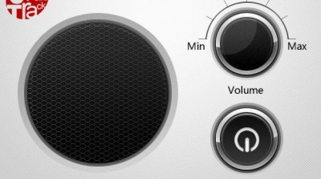 offon button and volume wheel next to speaker grid